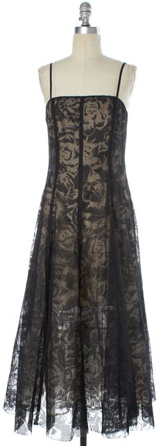 MOSCHINO CHEAP & CHIC Black Floral Burnout Overlay Formal Gown Dress