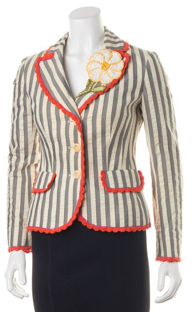 MOSCHINO CHEAP & CHIC Gray Ivory Striped Flower Embellished Blazer