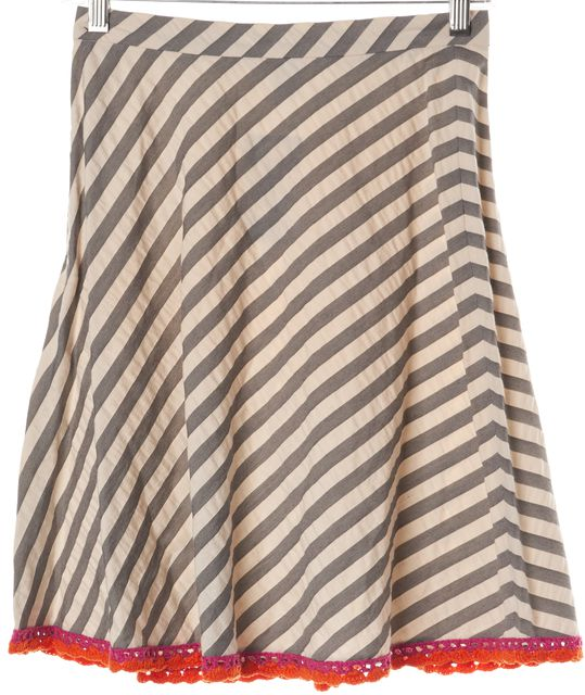MOSCHINO CHEAP & CHIC Gray Ivory Striped Crochet Trim A-Line Skirt