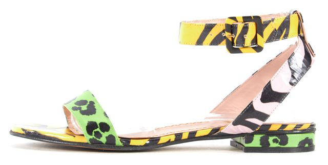 MOSCHINO CHEAP & CHIC Yellow Tiger Lime Green Leopard Ankle Strap Sandals