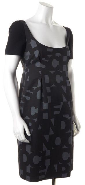 MOSCHINO CHEAP & CHIC Gray Black Letter Print Cap Sleeve Shift Dress