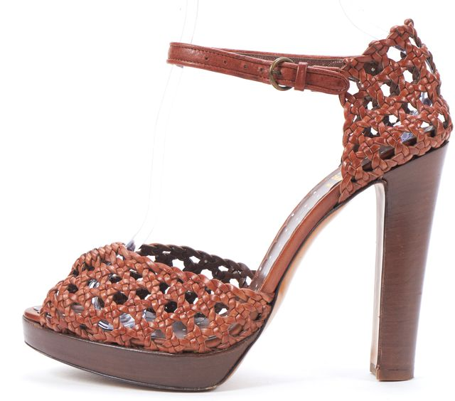 MOSCHINO CHEAP & CHIC Brown Woven Leather Wooden Platform Sandals
