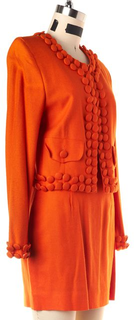 MOSCHINO CHEAP & CHIC Bright Orange Button Embellished Skirt Suit Set