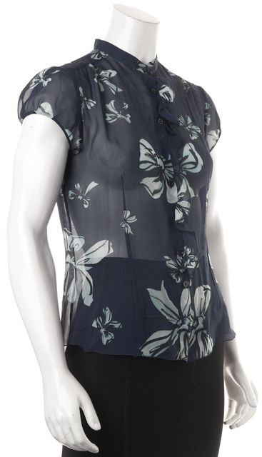 MOSCHINO CHEAP & CHIC Blue White Bow Printed Sheer Silk Blouse Top