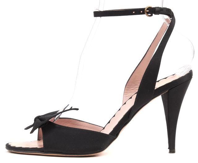 MOSCHINO CHEAP & CHIC Black Satin Bow Embellished Sandal Heels