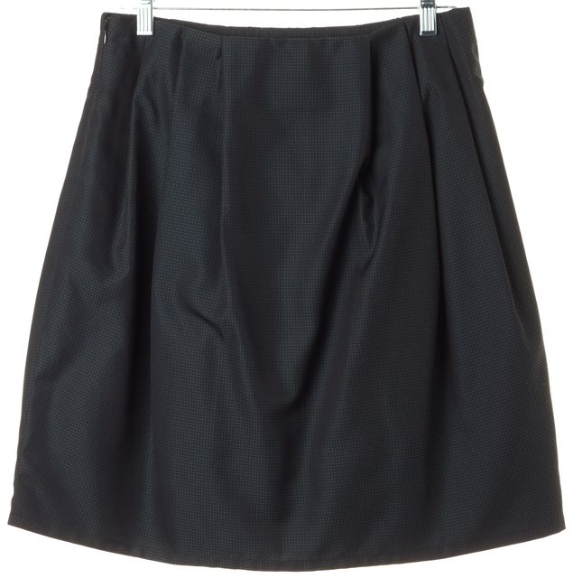 MOSCHINO CHEAP & CHIC Black Green Mini Dot Embroidered Pleated Skirt