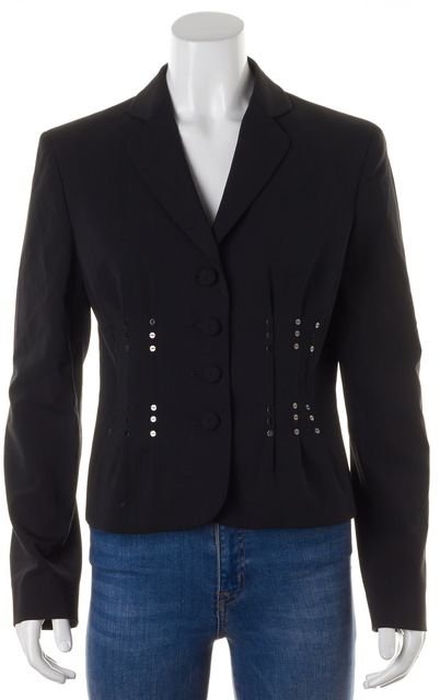 MOSCHINO CHEAP & CHIC Black Wool Sequin Embellished Blazer Jacket