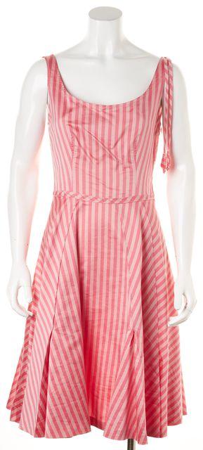 MOSCHINO CHEAP & CHIC Pink Striped Spaghetti Strap Fit & Flare Dress