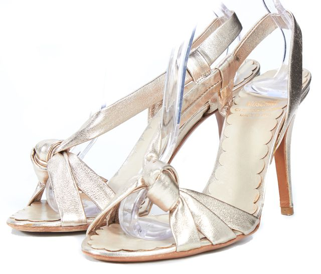 MOSCHINO CHEAP & CHIC Gold Metallic Leather Slingback Sandal Heels