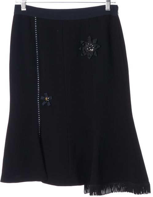 MOSCHINO CHEAP & CHIC Black Blue Floral Embellished A-Line Skirt