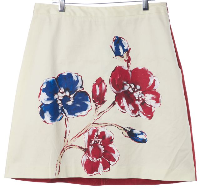 MOSCHINO CHEAP & CHIC Ivory Red Floral Above Knee A-Line Skirt