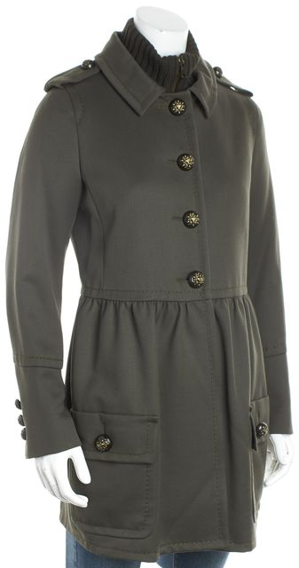 MOSCHINO CHEAP & CHIC Green Single Breast Button Front Military Coat
