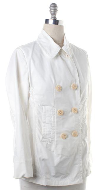 MONCLER White Nylon Double Breasted Jacket