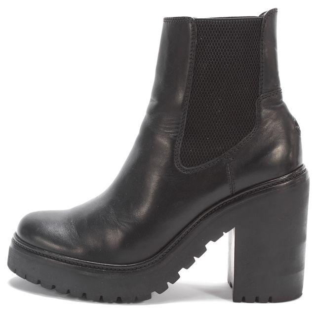 MONCLER Black Leather Chelsea Platform Ankle Boots