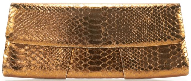 MCM Authentic Gold Leather Crocodile Embossed Flap Closure Clutch Bag