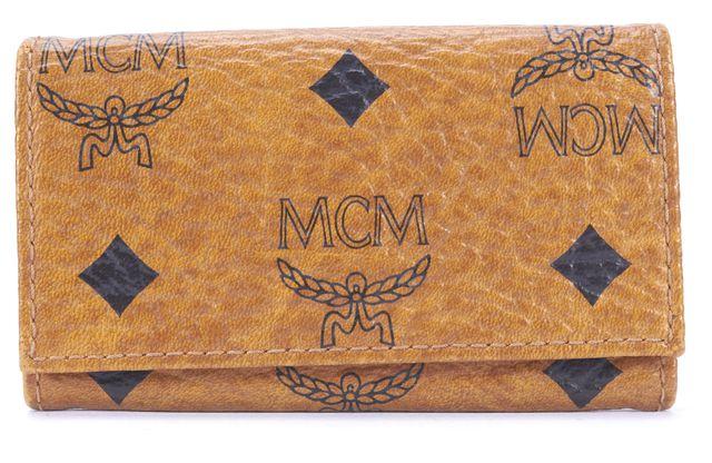 MCM Brown Cognac Coated Monogram Canvas Visetos Key Holder