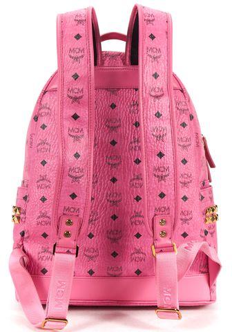 MCM Pink Black Stark Visetos Studded Backpack