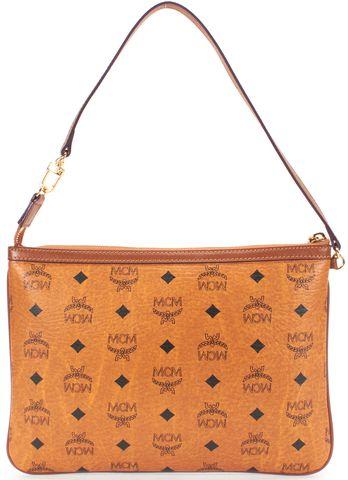 MCM Brown Leather Slim Monogram Shoulder Bag