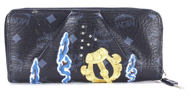 MCM Black Multi Embroidered Monogram Leather Himalayan Spirit Continental Wallet