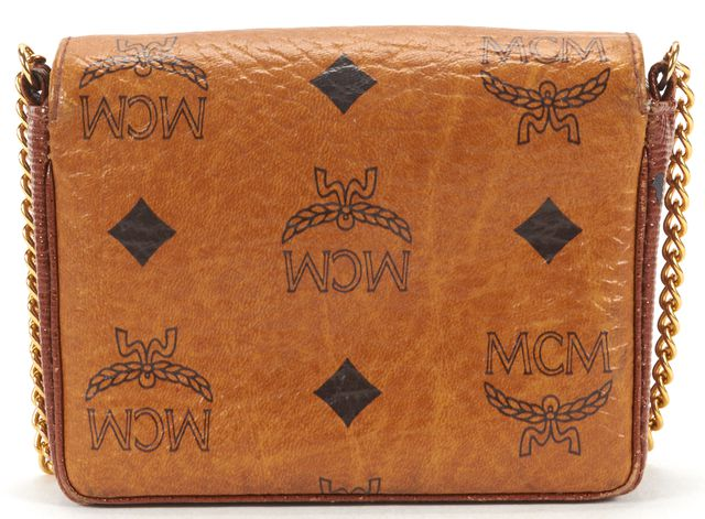 MCM Brown Leather Monogram Heritage Crossbody Bag