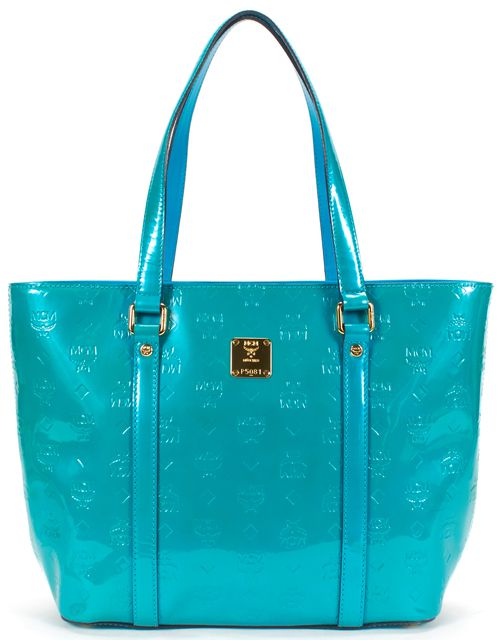 MCM Teal Green Patent Leather Monogram Ivanna Tote Bag