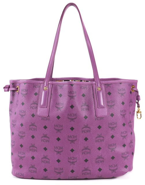 MCM Purple Leather Reversible Shopping Tote