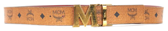 MCM Brown Monogrammed Coated Canvas with Red Textured Leather Reverse