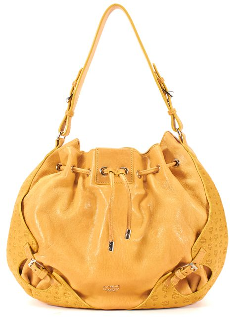MCM Yellow Leather MCM Embossed Silver Hardware Drawstring Hobo Bag