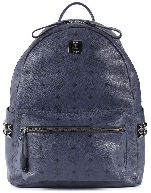 MCM Navy Blue Monogram Coated Canvas Studded Laptop Backpack