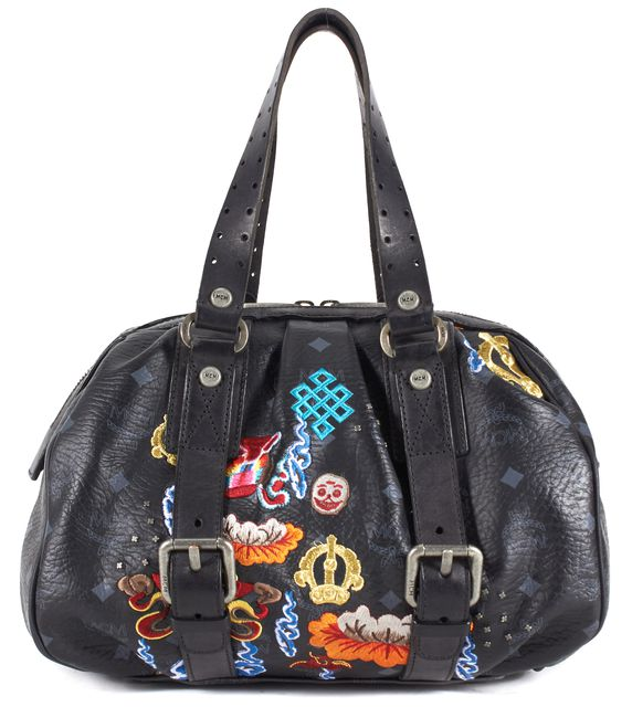MCM Black Multi Embroidered Monogram PVC Himalayan Spirit Top Handle Bag