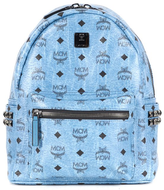 MCM Blue Black Monogram Coated Canvas Stark Studded Backpack