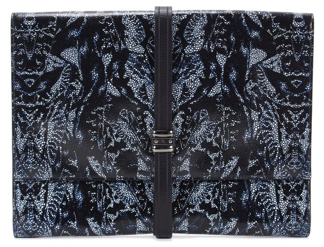 MCQ ALEXANDER MCQUEEN Black Navy Leather Abstract Print Clutch