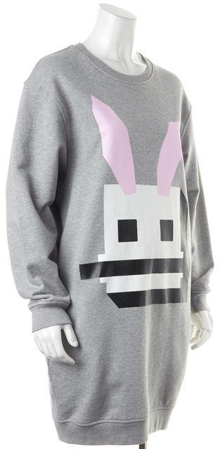 MCQ ALEXANDER MCQUEEN Gray Electro Bunny Graphic Sweatshirt Shirt Dress