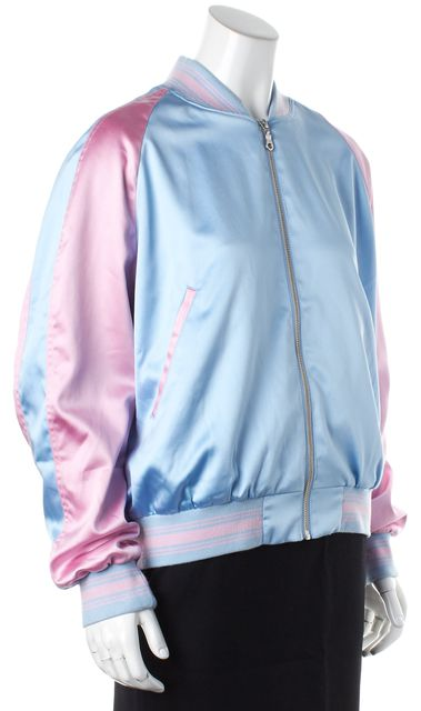 MCQ ALEXANDER MCQUEEN Blue Pink Embroidery Bomber Jacket