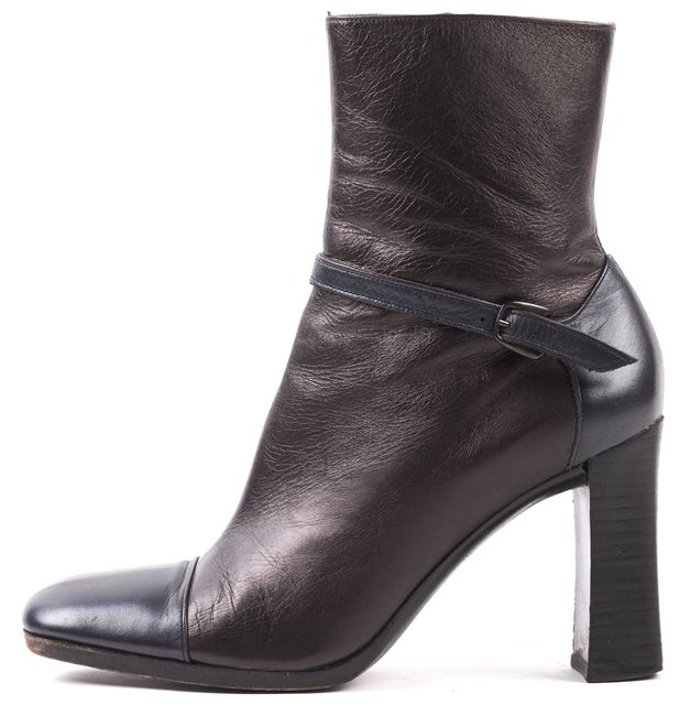 MAUD FRIZON Brown Black Metallic Leather Ankle Boots