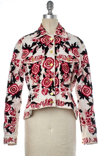 MEADHAM KIRCHHOFF White Floral Embroidered Corduroy Jacket