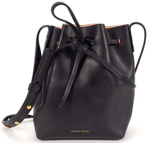 MANSUR GAVRIEL Black Leather Mini Mini Crossbody Bucket Bag