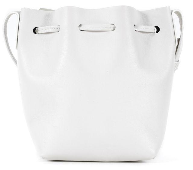 MANSUR GAVRIEL White Leather Mini Bucket Shoulder Bag