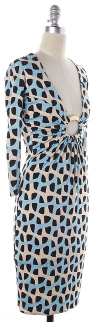 MARA HOFFMAN Ivory Navy Blue Abstract Silk Bodycon Dress