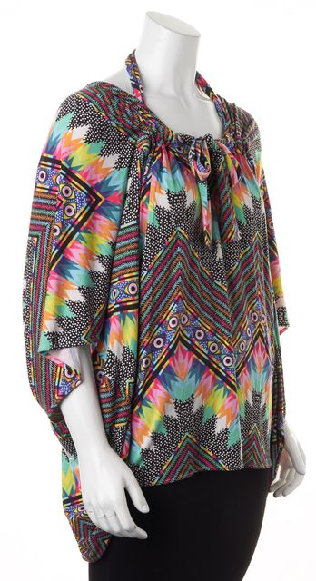 MARA HOFFMAN Multi-Color Abstract Print Oversized Blouse