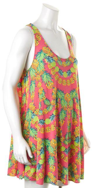 MARA HOFFMAN Pink Yellow Tropical Graphic Summer Shift Dress