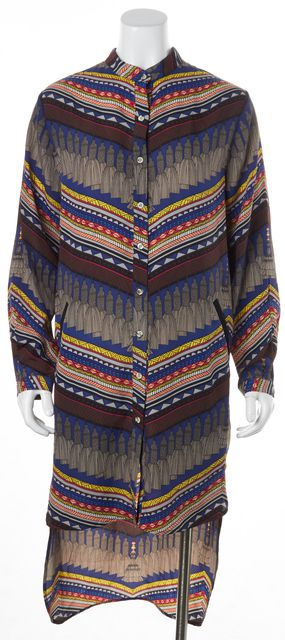 MARA HOFFMAN Blue Yellow Brown Pink Gray Tassel Graphic Shirt Dress