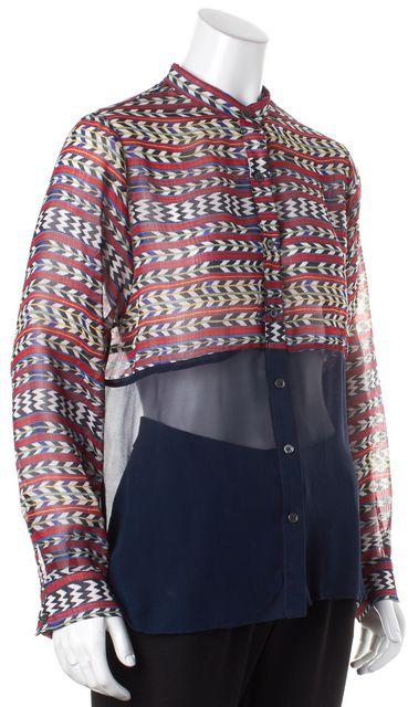 MARA HOFFMAN Red Navy Geometric Print Crepe Silk Button Down Shirt Top