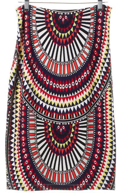 MARA HOFFMAN Red Blue Yellow Geometric Stretch Knit Skirt