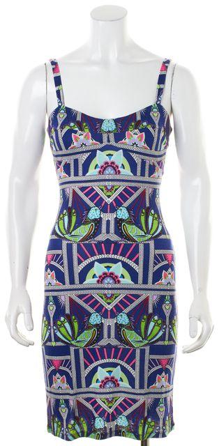 MARA HOFFMAN Blue Pink Green Geometric Cutout Back Bodycon Tank Dress