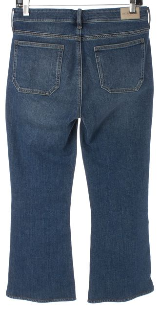 M.I.H. JEANS Blue Medium Wash Denim Marty High Rise Cropped Flare Jeans