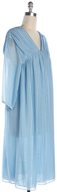 M.I.H. JEANS Blue White Striped Silk Empire Waist Dress