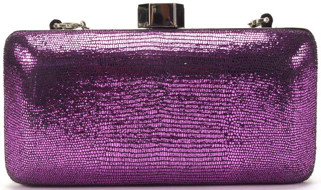 MILLY Auth Purple Metallic Textured Leather Silver Hardware Clutch Bag