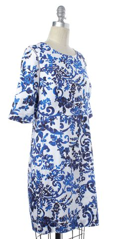 MILLY Blue White Floral Short Sleeve Cotton Sheath Dress