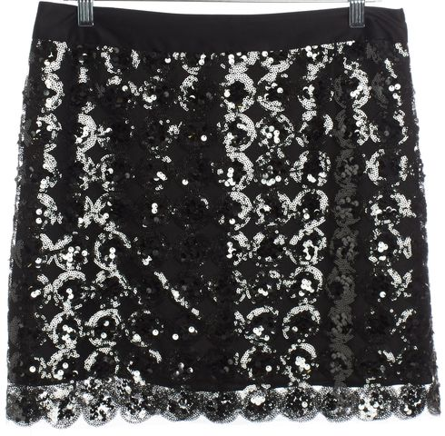 MILLY Black Sequin Straight Mini Skirt